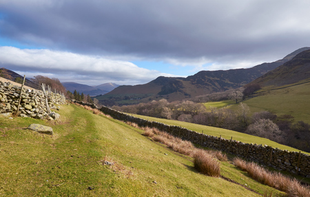 newlands: Looking down towards Newlands Beck from below High Snab Bank in the English Lake District, UK. Stock Photo