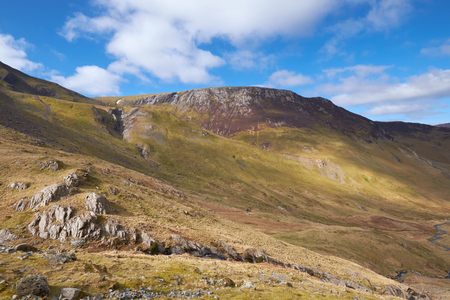 Looking up at High Crags from Newlands Beck, Derwent Fells, English Lake District, UK.