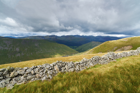 summit lake: Looking towards Hayswater Gill & Hartsop from the summit of The Knott in the English Lake District, UK.