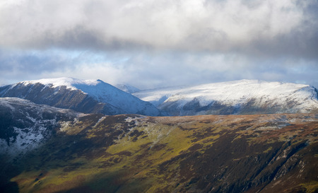 fells: Looking out over the Derwent Fells in winter in the English Lake District from Castlerigg. Stock Photo