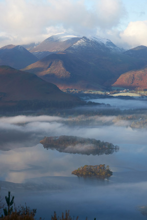 borrowdale: Looking out over the Derwent Water in winter in the English Lake District from Castlerigg. Stock Photo