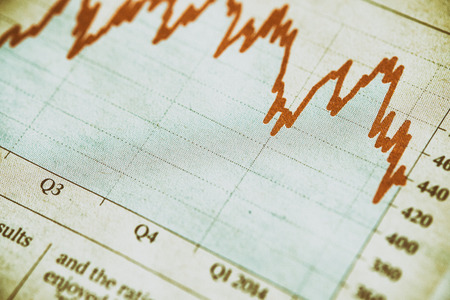 Financial Data, stocks and shares graph. The image has added grain and styling.