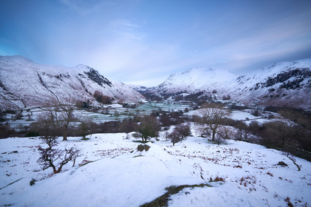 lake district: Looking down towards Deepdale and Patterdale from Hartsop Above How in the English Lake District. Stock Photo