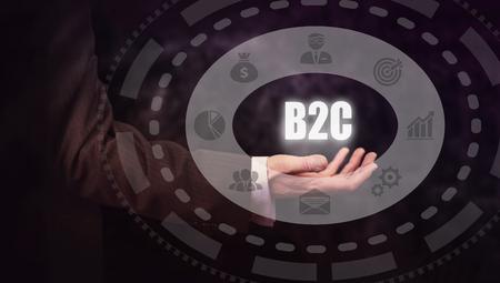 b2c: Businessman pressing a B2C concept button. Stock Photo