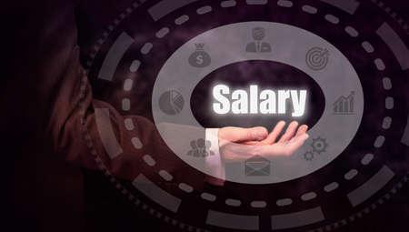 remuneraci�n: De negocios que presiona un bot�n de concepto de sueldos.