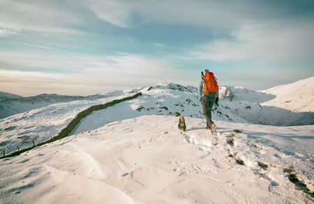 snow covered mountains: Hiker walking their dog on snow covered mountains in the UK. Grain and colour styling applied