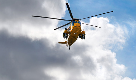 rescue helicopter: Search and Rescue helicopter in Northumberland, North East England, UK.