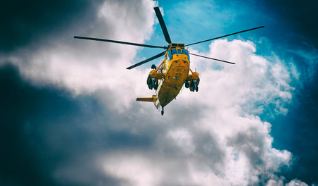coastguard: Search and Rescue helicopter in Northumberland, North East England, UK.