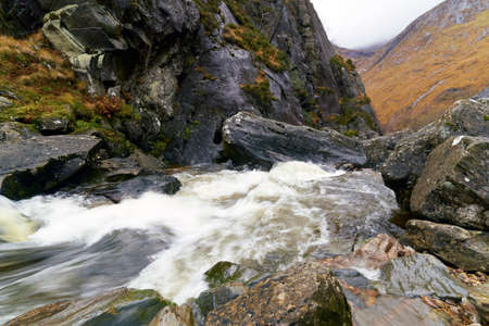 glen: the top of the waterfal, Eas  an  Tuill. Glen Nevis, Scottish Highlands.