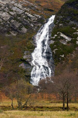 glen: An Steall waterfall, Water of Nevis. Glen Nevis, Scottish Highlands. Stock Photo