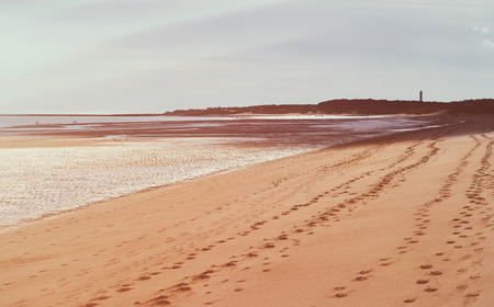 seclusion: Families enjoying a sandy beach at Druridge Bay, Northumberland, UK.
