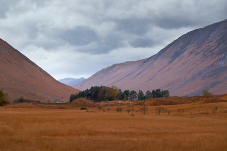 glen: Cloudy weather over Glen Etive, Scottish Highlands. Stock Photo