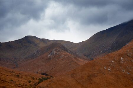 glen: Summits of Ben Starav & Glas Bheinn Mhor. Glen Etive, Scottish Highlands. Stock Photo