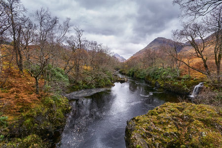 glen: Ben Starav and the river Etive. Glen Etive, Scottish Highlands. Stock Photo