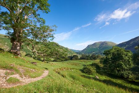 lake district: The trail running through Deepdale in the English Lake District. Stock Photo