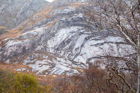 glen: Trilleachan slabs on Beinn Trilleachan,  Glen Etive, Scottish Highlands. Stock Photo