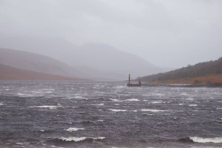 lochs: Bad weather blowing in at the logging pier at Loch Etive, Scottish Highlands.