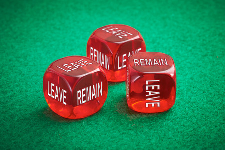 yes or no to euro: Leave or remain dice concept. United Kingdom European Elections.