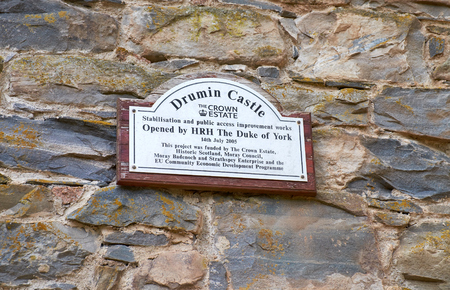 duke: A plaque on the ruins of Drumin Castle commemorating the completion of restoration works in 2005 by the Duke of York