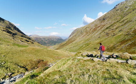A hiker walking down towards Seathwaite, Grains Gill from Scafell Pike in the English Lake District. UK. Stock Photo