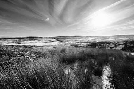 moorland: Remote moorland of Edmondbyers Common in winter. Stock Photo