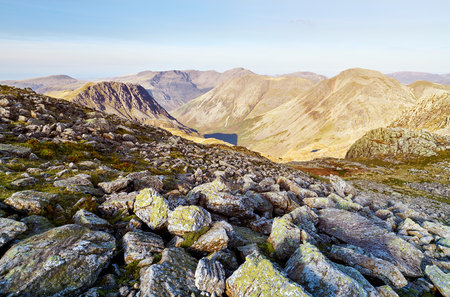 winter escape: Views of Lingmell from below GreatEnd in the English Lake District. UK