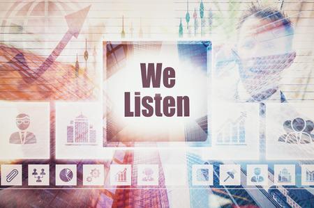 interpersonal: Business We Listen collage concept