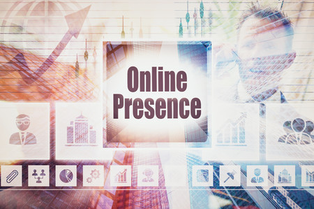 web presence internet presence: Business Online Presence collage concept