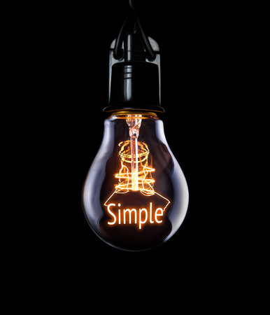 straightforward: Hanging lightbulb with glowing Simple concept.