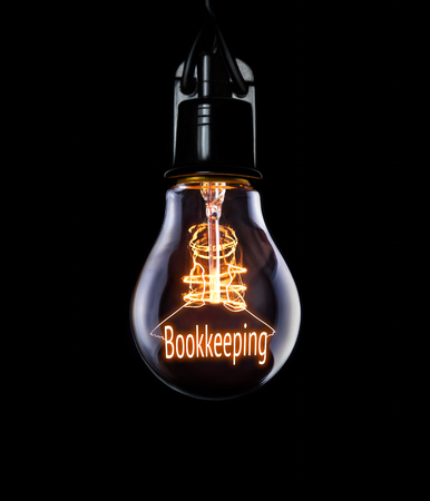 working hours: Hanging lightbulb with glowing Bookkeeping concept.