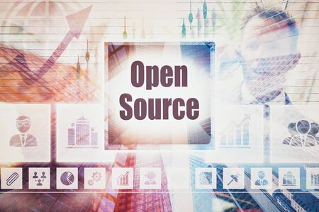 software portability: Business Open Source collage concept Stock Photo
