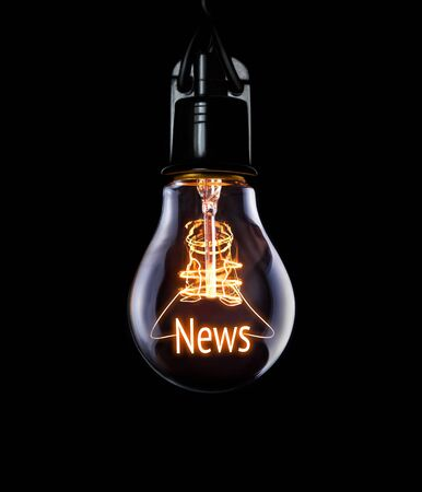 Hanging lightbulb with glowing News concept.