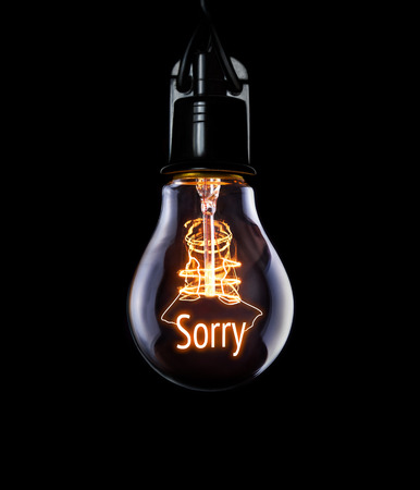 Hanging lightbulb with glowing Sorry concept.