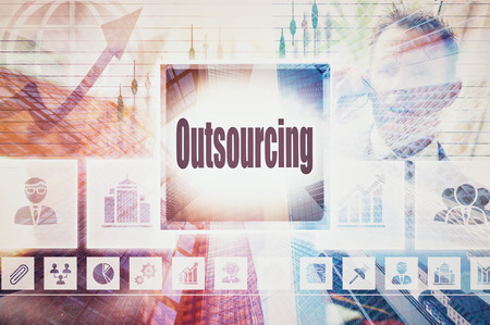 outsourcing: Business Outsourcing collage concept Stock Photo