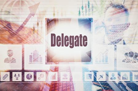 delegar: Collage del concepto del Delegado de negocios