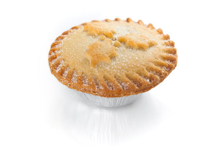 Close up of a Christmas Mince Pie isolated on a white background Stock Photo