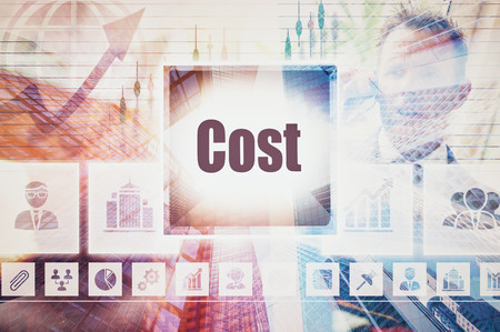 economise: Business Cost concept button on a coloured background Stock Photo