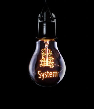 Hanging lightbulb with glowing System concept.