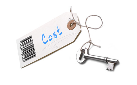 economise: A silver key with a tag attached with a Cost concept written on it.