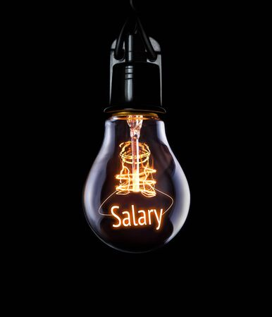 Hanging lightbulb with glowing Salary concept.