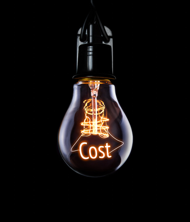 economise: Hanging lightbulb with glowing Cost concept.
