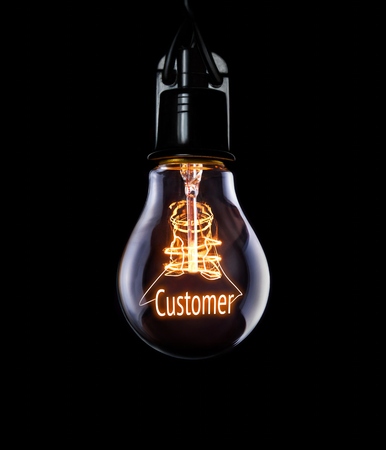 patronage: Hanging lightbulb with glowing Customer concept.