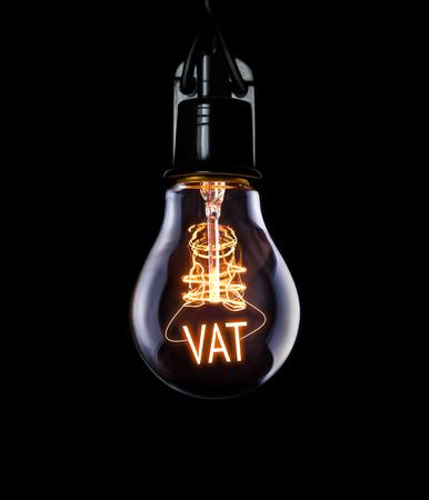 빛나는 VAT 개념으로 전구를 어 슬 렁 거리.
