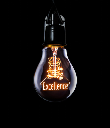 prowess: Hanging lightbulb with glowing Excellence concept.
