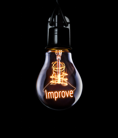 Hanging lightbulb with glowing Improve concept. Stock Photo