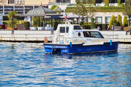 ISTANBUL, TURKEY - FEBRUARY 13, 2014: Taxi Service Yachts on the Bosphorus, Istanbul, Turkey.
