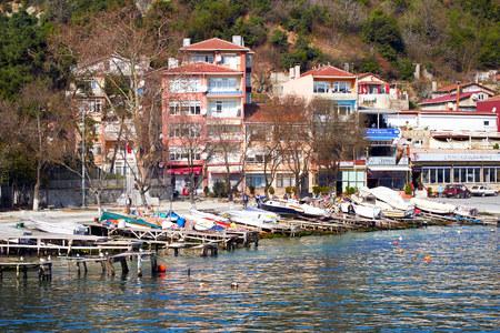 ISTANBUL, TURKEY - FEBRUARY 13, 2014: The fishing village of Rumeli Kavagi on the Bosphorus Strait,Istanbul,Turkey.