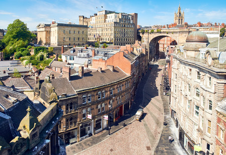 NEWCASTLE UPON TYNE, ENGLAND, UK - AUGUST 13, 2015: Aerial View of the streets of Newcastles Quayside beside the river Tyne.