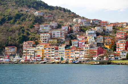 characteristic: ISTANBUL, TURKEY - FEBRUARY 13, 2014: The fishing village of Rumeli Kavagi on the Bosphorus Strait,Istanbul,Turkey.