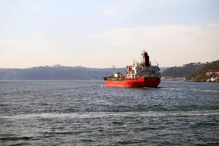 ISTANBUL, TURKEY - FEBRUARY 13, 2014: Commercial shipping on the Bosphorus, Istanbul, Turkey.